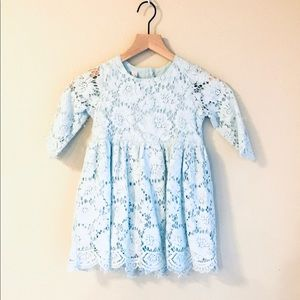Beautiful Light Blue Lace ZIP Up Back Dress Girls
